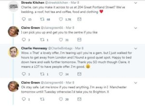 Charlie's involvement with streets kitchen