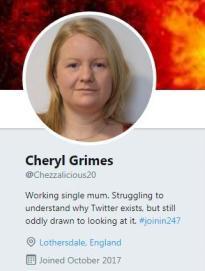 Cheryl Twitter profile