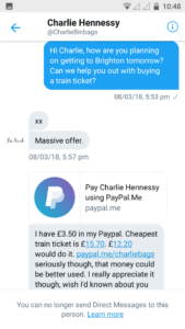 Streets Kitchen offer to buy train ticket
