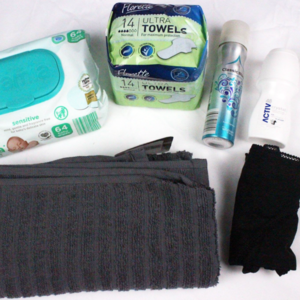 image shows female toiletries kit