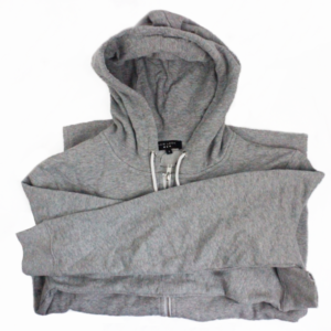 Image shows shop product grey hooded jumper