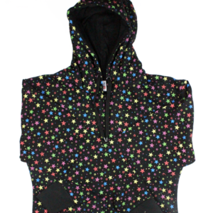 Image shows black hoodie with bright multicoloured stars print